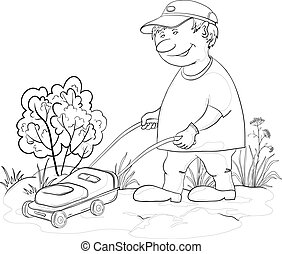 Lawn mower man, outline - Vector, lawn mower man work, mows...