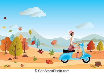 Autumn landscape and scooter woman - Illustration vector