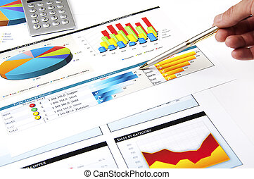 hand with the handle specifies charts of growth, finance...
