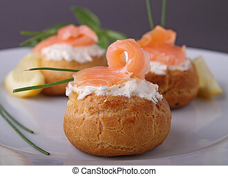 salmon appetizer - french choux with cream and salmon
