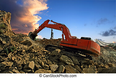 Excavator crushing rocks - Excavator digging mountain by...