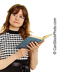 Young woman in glasses with textbook - Young beautiful woman...