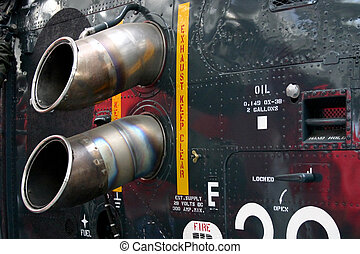 Close-up of helicopter exhaust vents at the Imperial War Museum Duxford