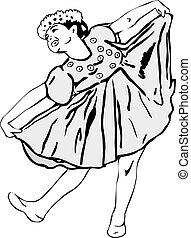 Girl dancing in garlands