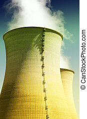 Nuclear power station cooler, blue background