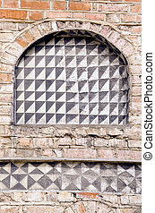 historical old town house wall fragment background