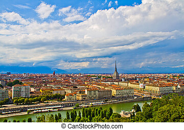 City of Turin skyline panorama seen from the hill - City of...