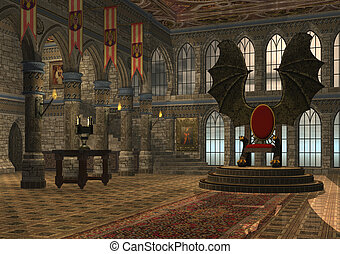 Dragon throne - 3D rendered fantasy dragon throne hall...