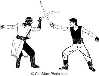 Warriors - black and white drawing men with swords in their...