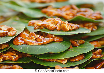 Candied Cashew Nuts on a Leaf - Candied Cashew Nuts on...