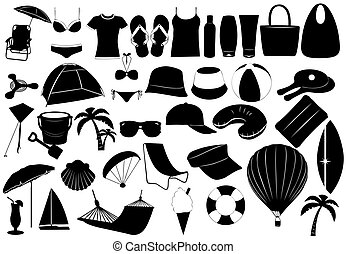 Objects summer - Illustration of summer vacation objects...