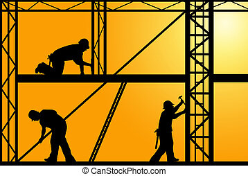 Construction Workers - construction workers with orange sky...