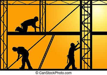 Construction Workers - construction workers with orange sky...