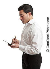 Businessman or waiter - A businessman or waiter wriring in a...