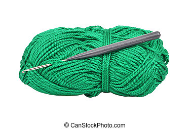 Skein of wool and crochet hook, isolated on a white background