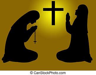 rezando, silueta, Monjas
