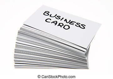 Business cards with \'business card\' handwritten on the top...