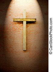 madeira, crucifixo, tijolo, parede