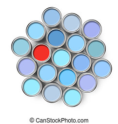 Different color paint tin can - Different color among opened...