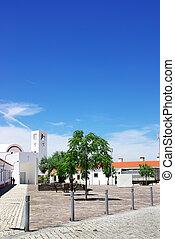 Square at Luz village, alentejo, south of Portugal.
