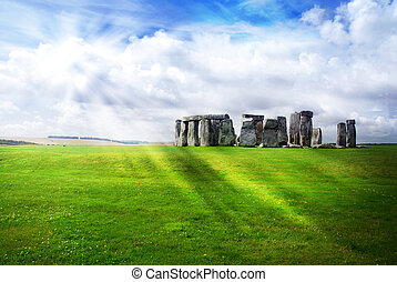 sol, rayos, encima, Stonehenge