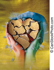 heart - A broken golden stone heart is held by three painted...
