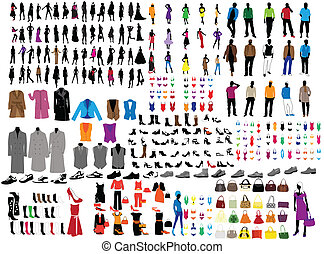 man and woman fashion silhouette on white background