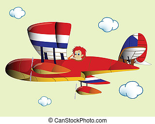 kid flying airplane, abstract vector art illustration