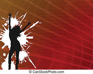 stripy abstract background with girl silhouette and white...