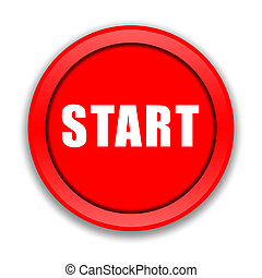 Start button - Red start button over white background