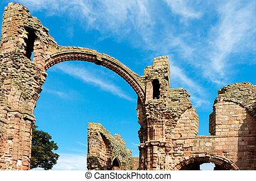 Close-up view of part of the ruins of Lindisfarne Priory