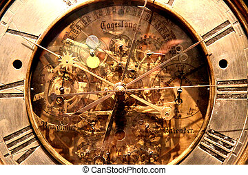 old clock  - old golden clock as very nice time background