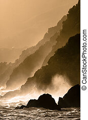 Dramatic seascape in Mediterranean sea in Chinque Terre...