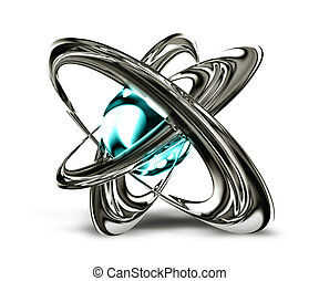 atom - science symbol with abstract metal atom on a white...
