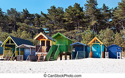 Some brightly coloured beach huts in Wells Next the Sea