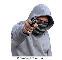 Youth Gun Crime - Youth with hoody pointing handgun isolated...