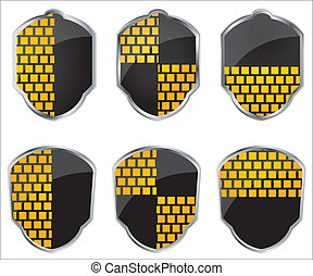 shield emblems isolated over a white background