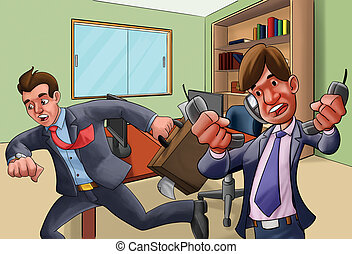 office in a hurry - two workers very upset, one talking in...