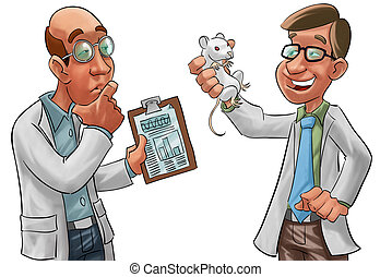 scientists - two scientists, one have a lab rat in his hand
