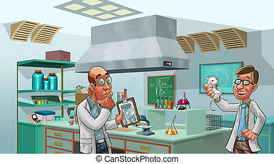 doctors in the lab - two doctors looking a lab rat, there is...