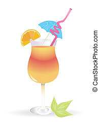 Tropical cocktail in glass isolated on white background with...