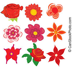 set of red flower graphics vector