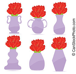 set of  flower vase vector illustration