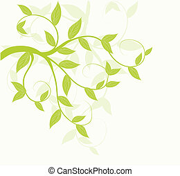 Abstract vector green leaves floral background.