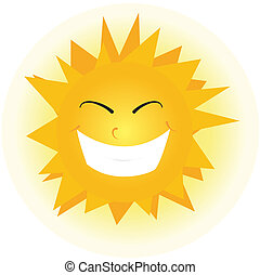 Cute happy orange sun face