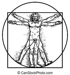 Basic RGB - Leonardo da Vinci's vitruvian man in vector.