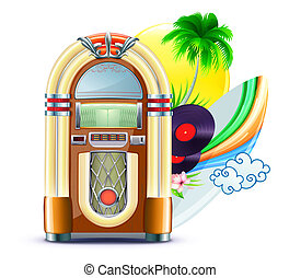 funky summer music background - illustration of funky summer...