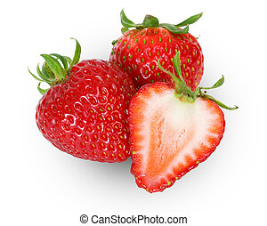 strawberries over white background