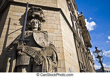 Roland statue - stone roland statue at the townhall in...