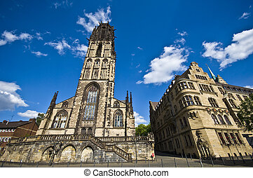 Salvatorkirche and Townhall in Duisburg - view of...